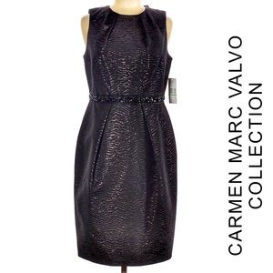 Carmen Marc Valvo NWT  Shimmer Bead Cocktail Dress